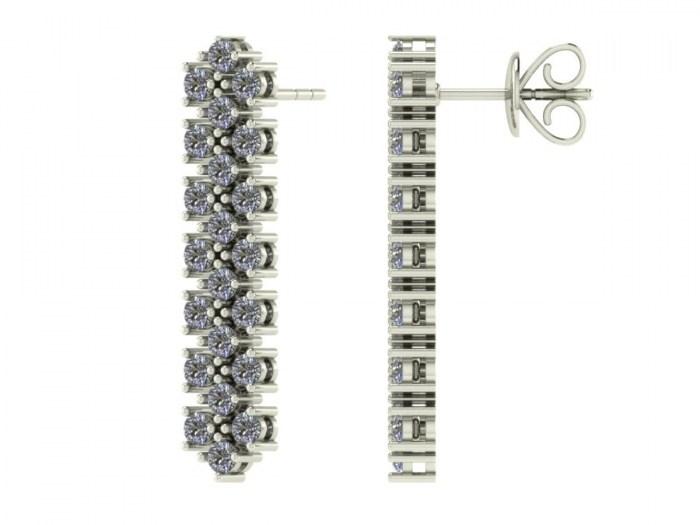 Three Row Diamond Studs