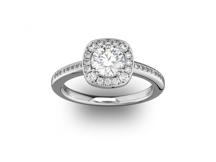 090 Cushion Setting with Diamond Accent