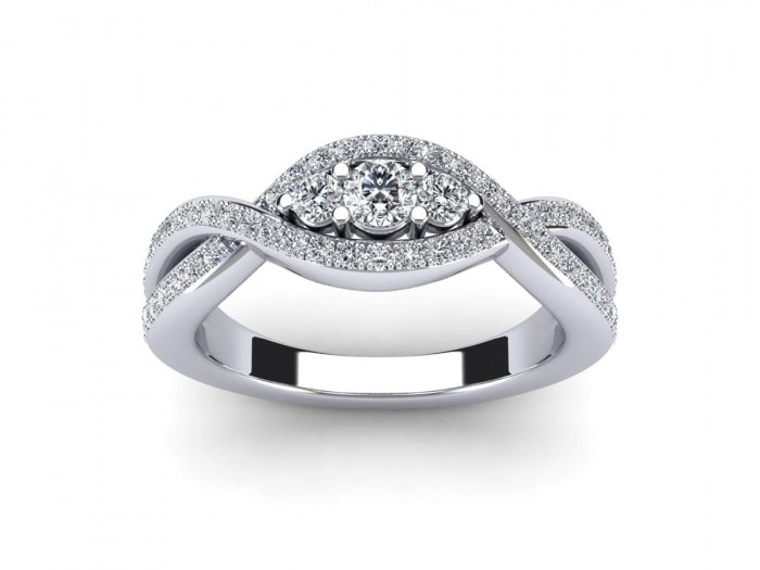 Three Stone United Diamond Ring
