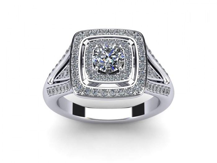 Layered Cushion Engagement Ring