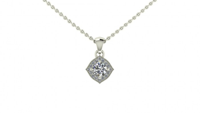 Pinched Cushion Diamond Necklace