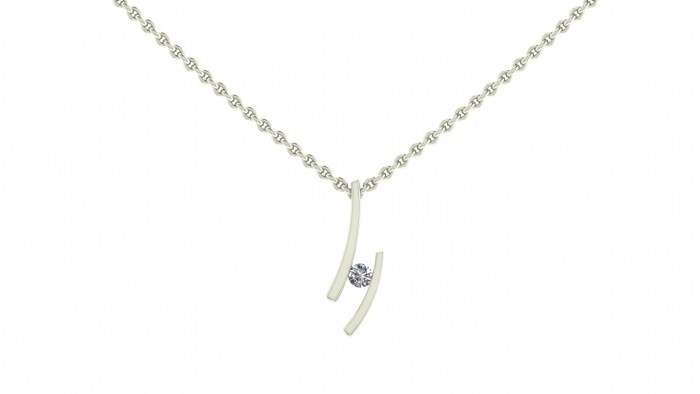 Curved Channel Set Necklace