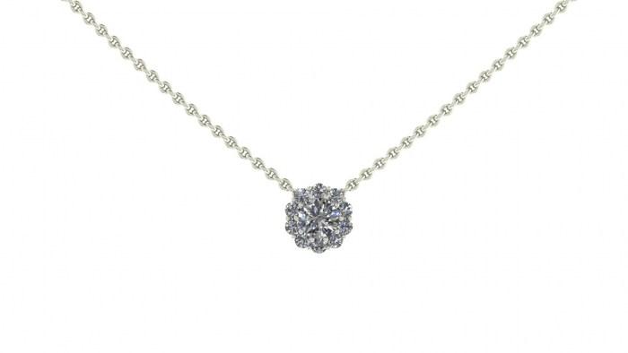 030 Vintage Diamond Cluster Necklace
