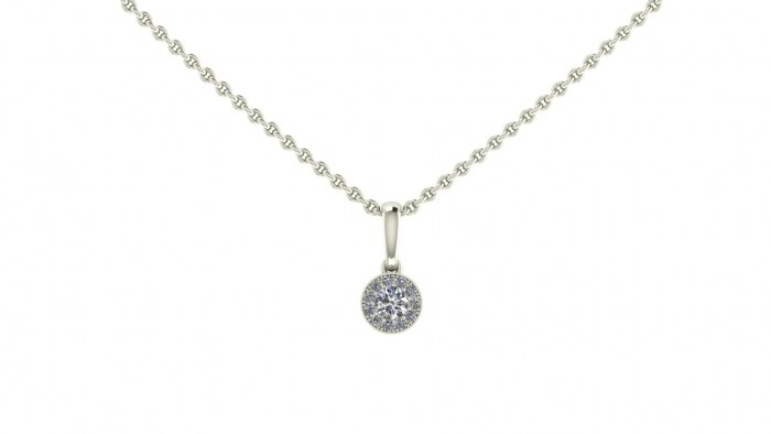 Petite Diamond Halo Necklace
