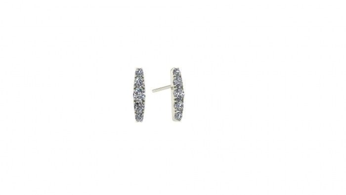 Stripe Diamond Stud Earrings