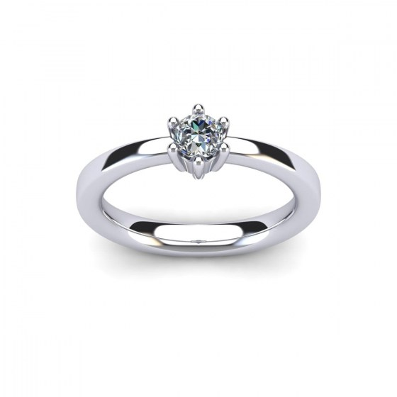 030 Contemporary Six Prong Engagement Ring