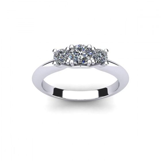Brilliant Three Stone Engagement Ring