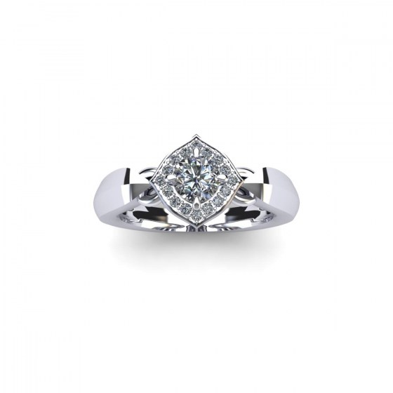 Pinched Cushion Engagement Ring