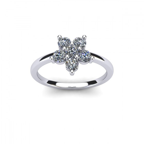 Six Diamond Cluster Ring