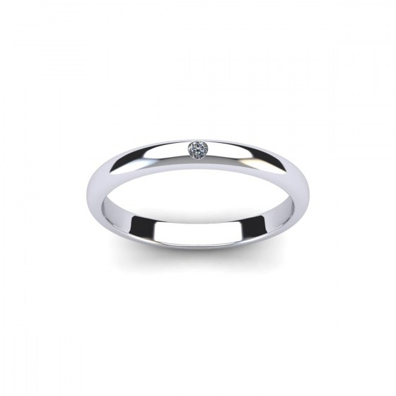 Single Diamond Half-Round Band