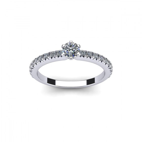 Six Prong Solitaire with Diamond Accent