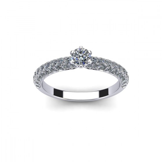 Six Prong Solitaire with Pavé-Set Shank