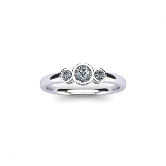 Triple Hearts Diamond Bezel Ring