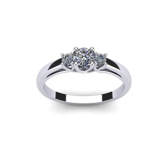 Twisted Prong Three Diamond Ring