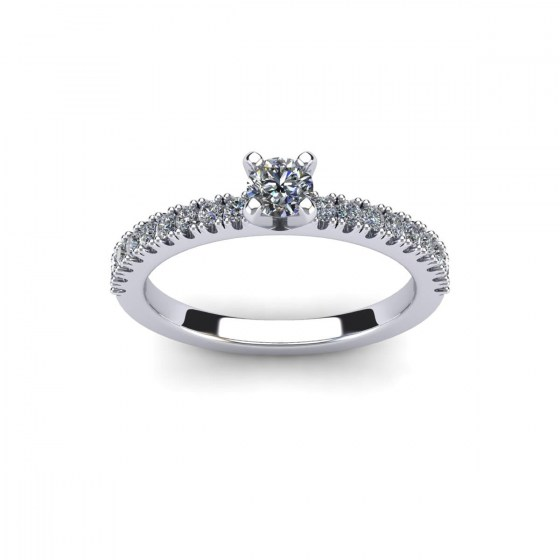 Four Prong Solitaire with Diamond Shoulders