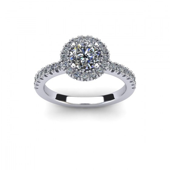 Four Prong Halo with Diamond Shoulders