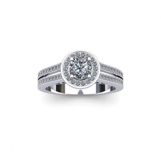 Twin Band Diamond Halo Ring