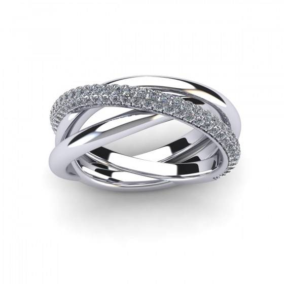 Twisted Single Arch Pavé Ring