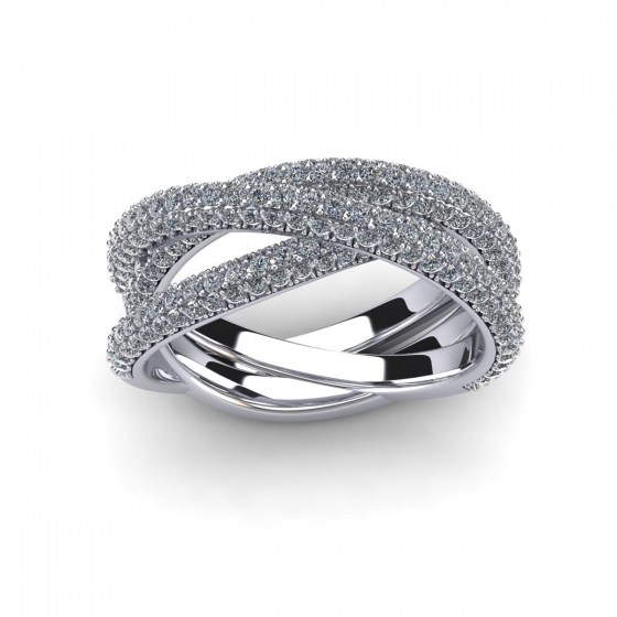 Twisted Triple Arch Pavé Ring