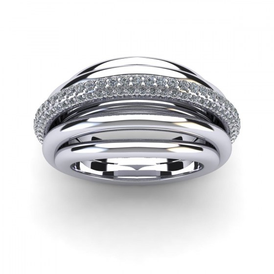Straight Single Arch Pavé Ring