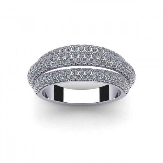 Straight Triple Arch Pavé Ring