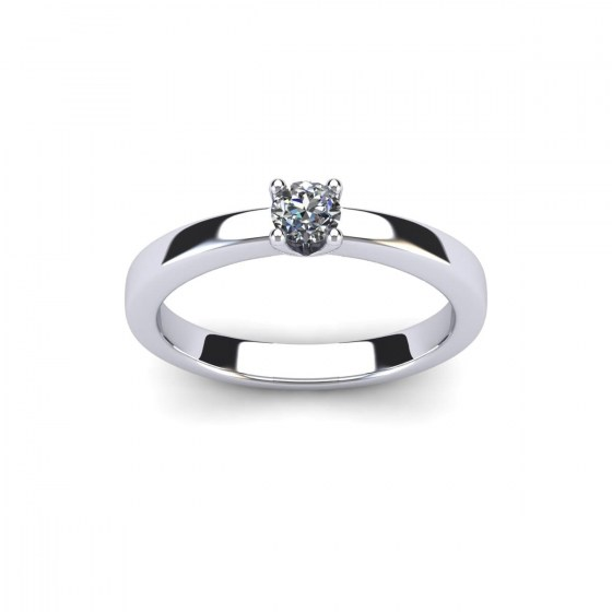 Solid V Prong Engagement Ring