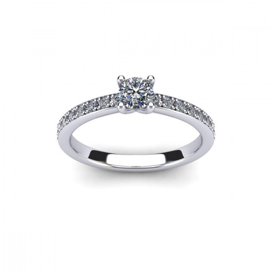 Four Prong Solitaire with Diamond Accent