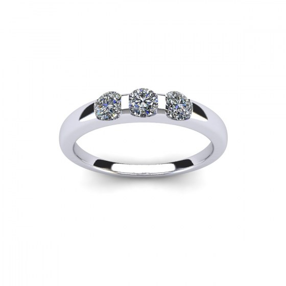 074 Three Stone Modern Reveal Ring