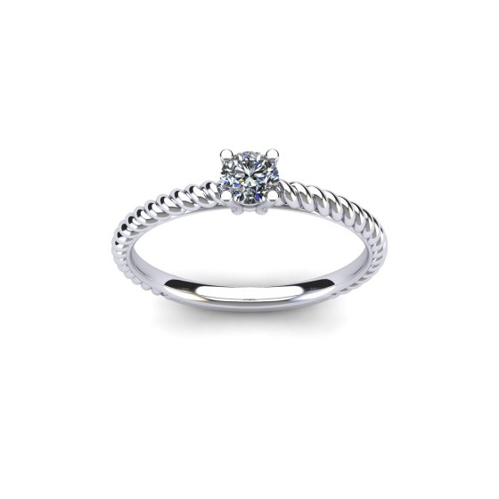 Cable Diamond Engagement Ring