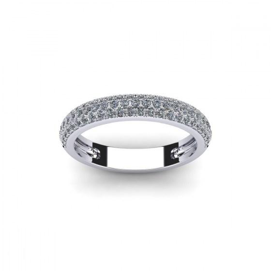 Three Row Half Diamond Eternity Ring