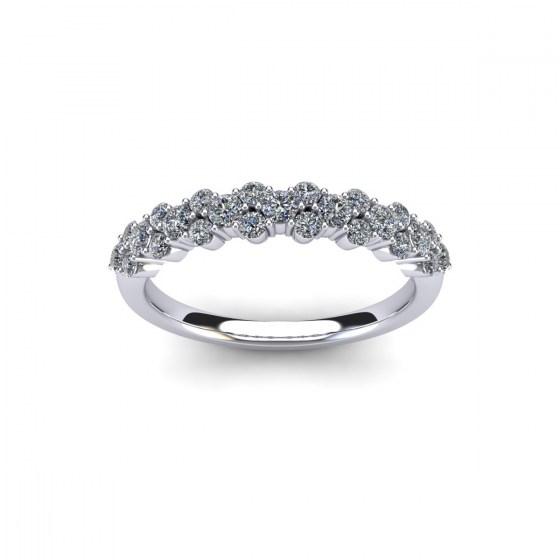 Three Row Half Diamond Ring