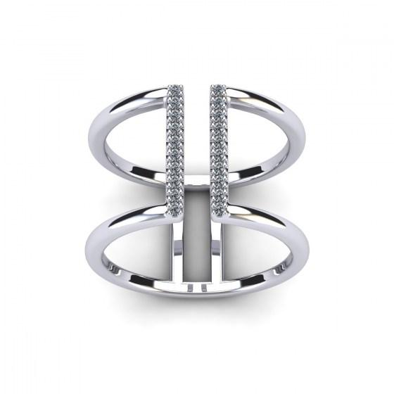 Two Diamond Pillars Ring