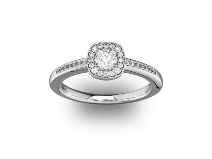 030 Cushion Setting with Diamond Accent